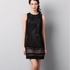 Ann Taylor LOFT black eyelet lace shift dress 16